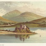 antique print of Kilchurn Castle, Loch Awe, Argyll and Bute, Scotland