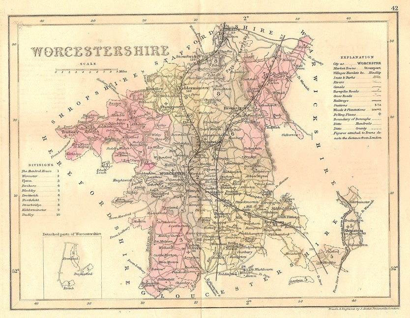 Antique Map Of Worcestershire Frontispiece