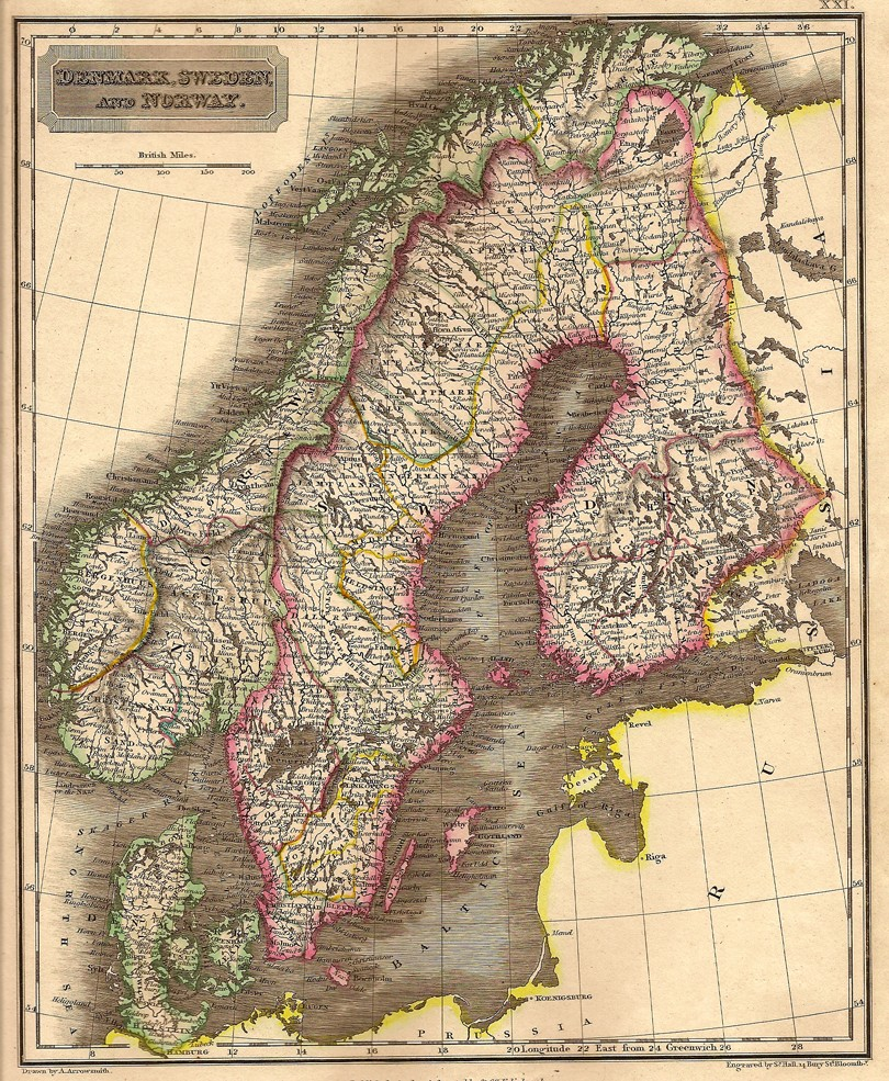 Scandinavia Denmark Sweden Norway antique map Frontispiece