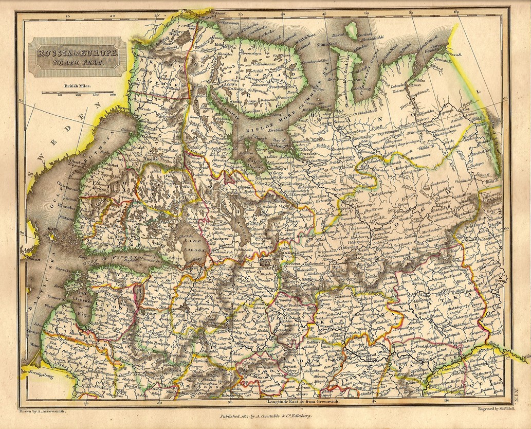russia europe antique map