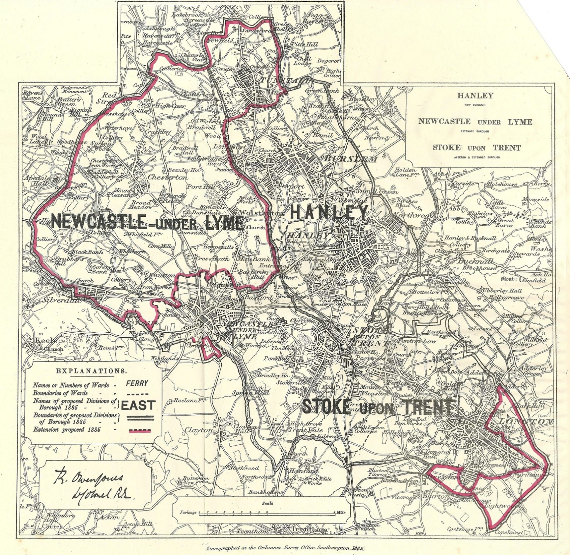 Staffordshire antique parliamentary constituency map Frontispiece