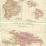 Hawaiian Islands & Hayti Haiti antique map