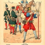 Russian troops Peter the Great's Army antique print