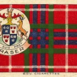 Fraser clan Scottish tartan. BDV Cigarettes Silk. Clan tartan and Coat-of-Arms. Tartan Series issued in 1922. The silk measures approx. 6x4ins. Excellent condition.
