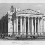 Royal Exchange London antique print published 1845