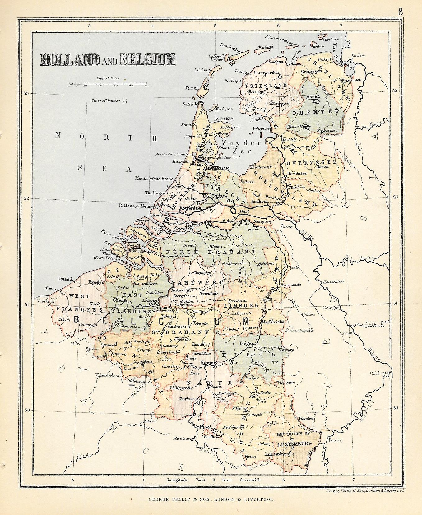 holland belgium antique map 1500