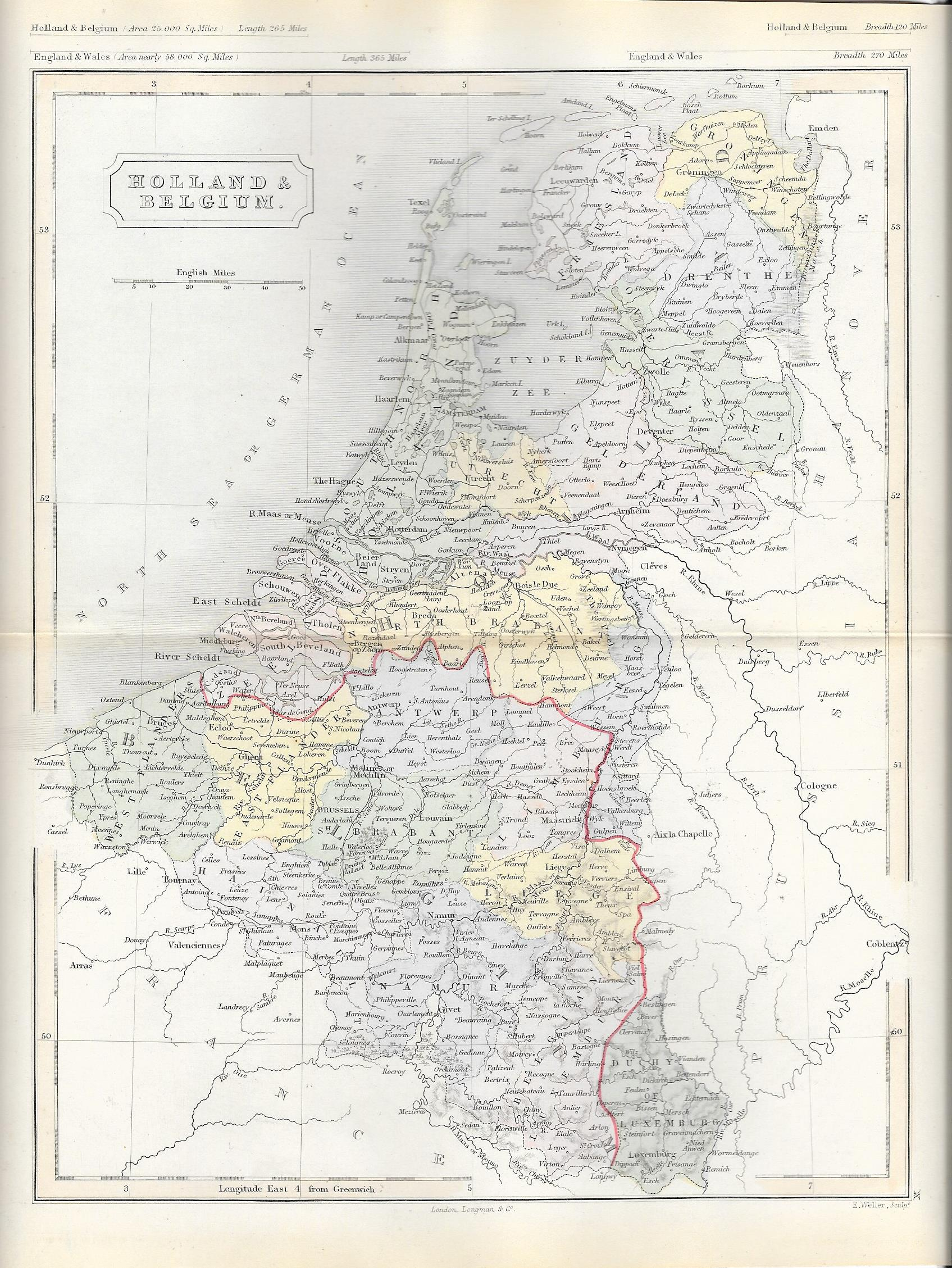 holland belgium antique map 4500