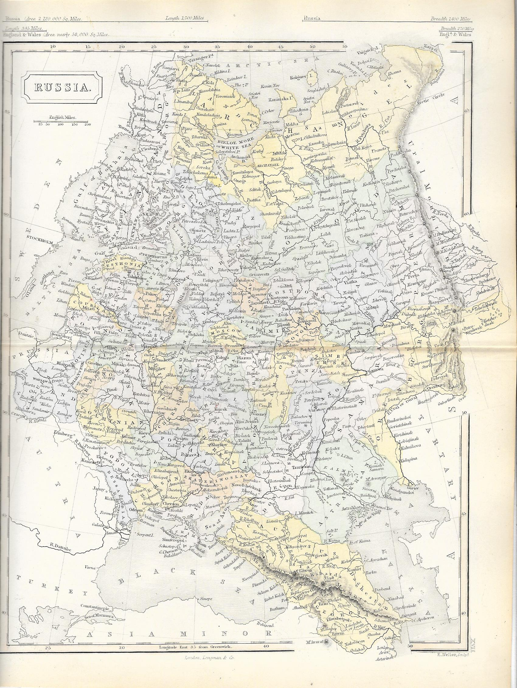 russia europe antique map 4500