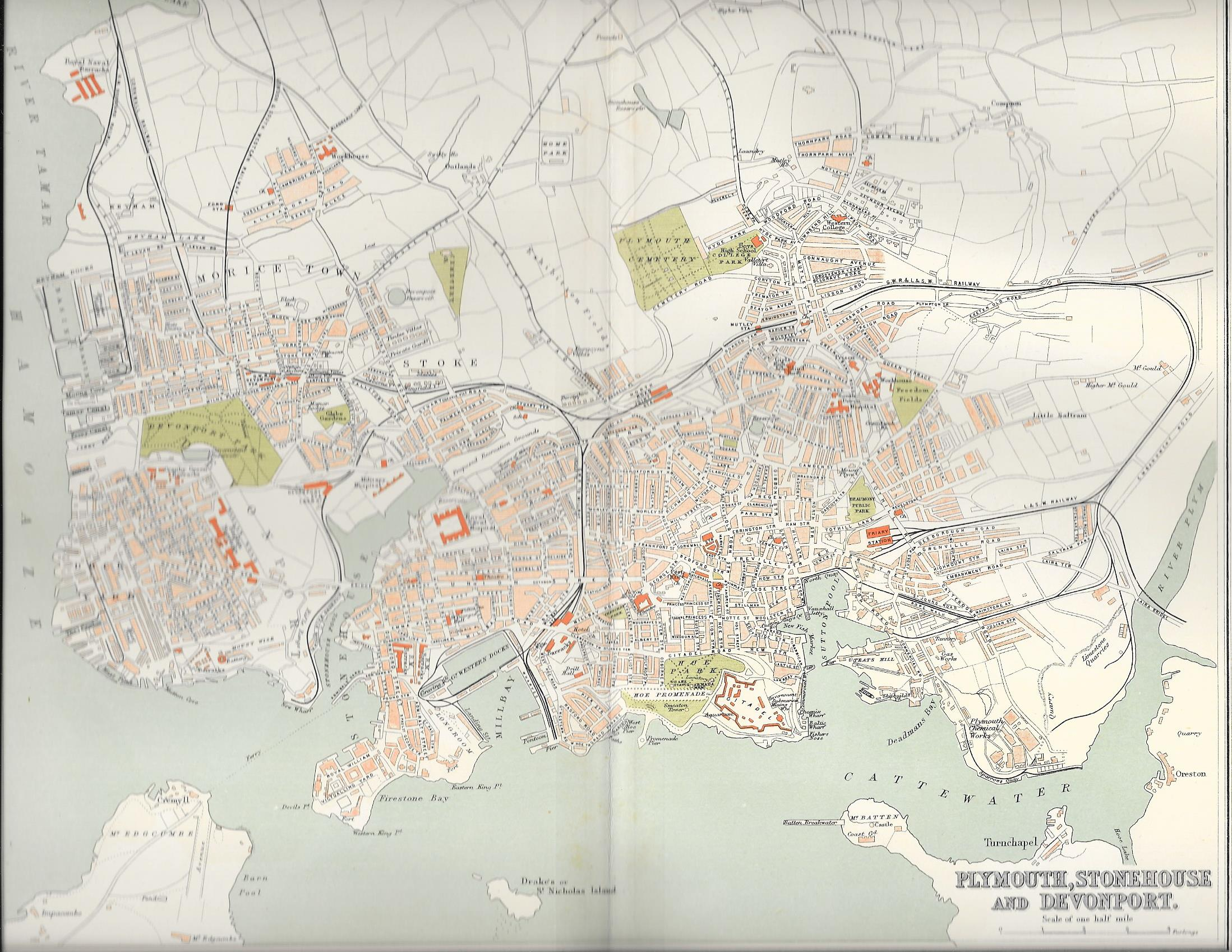 Plymouth Stonehouse Devonport Antique Map Frontispiece - Antique maps for sale uk