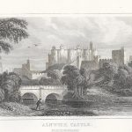 Alnwick Castle Northumberland antique print 1845 Dugdale