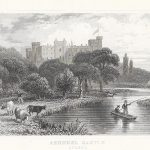 Arundel Castle Sussex antique print dugdale 1845