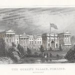 Buckingham Palace. The Queen's Palace, Pimlico. 1845 antique print