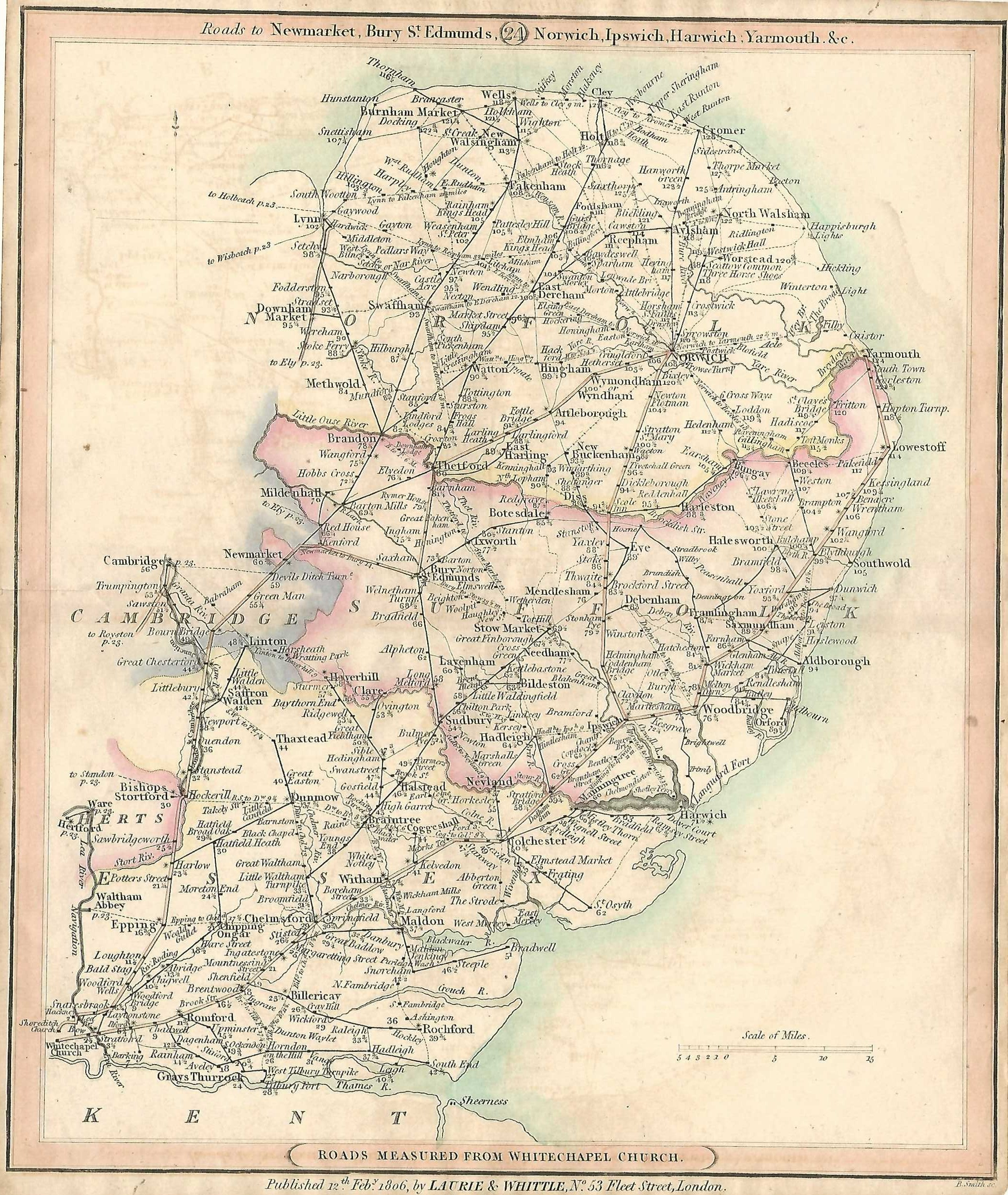 London Essex Hertfordshire Cambridge Suffolk Norfolk Antique Road - Antique road maps