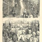 First Battalion of the Scots Guards departure for Anglo- Egypt War, antique print 1882