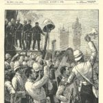 War in Egypt, The Scots Guards Embarking at Westminster Bridge August 1882 antique print