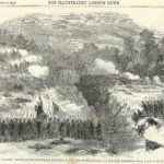 Attack on the Confederate Batteries at Bull Run by Union forces antique print1861 antique print