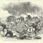 Civil War in America Stampede of Union Army from Bull Run battlefield, antique print 1861