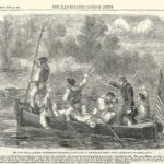 American Civil War. Confederate trapping a boats crew of the Potomac fleet 1861