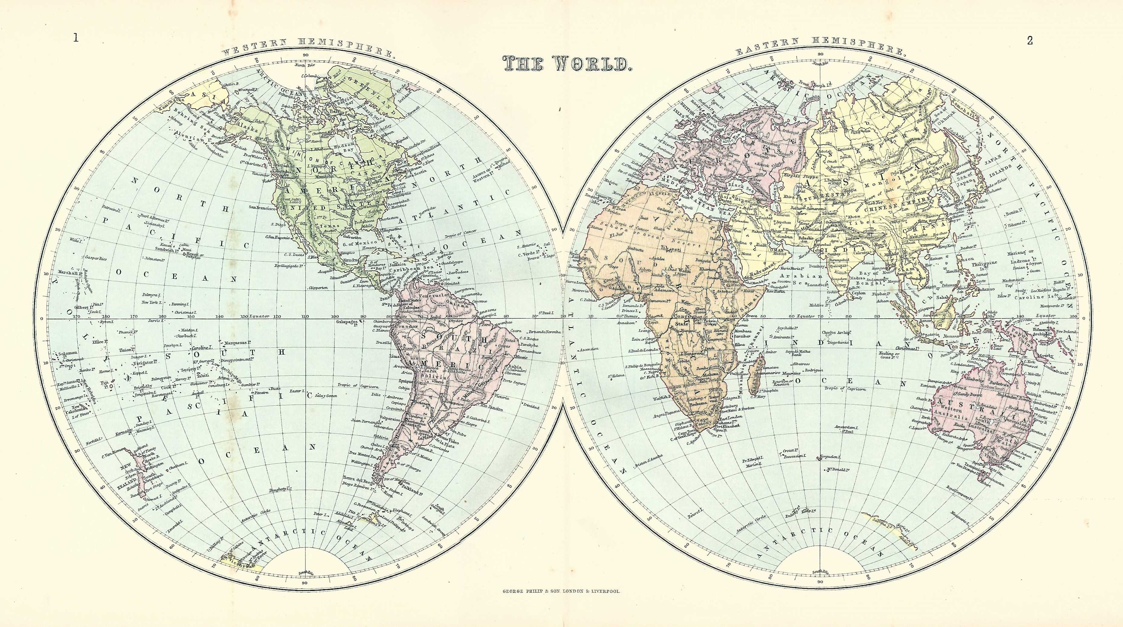 world double hemisphere antique map