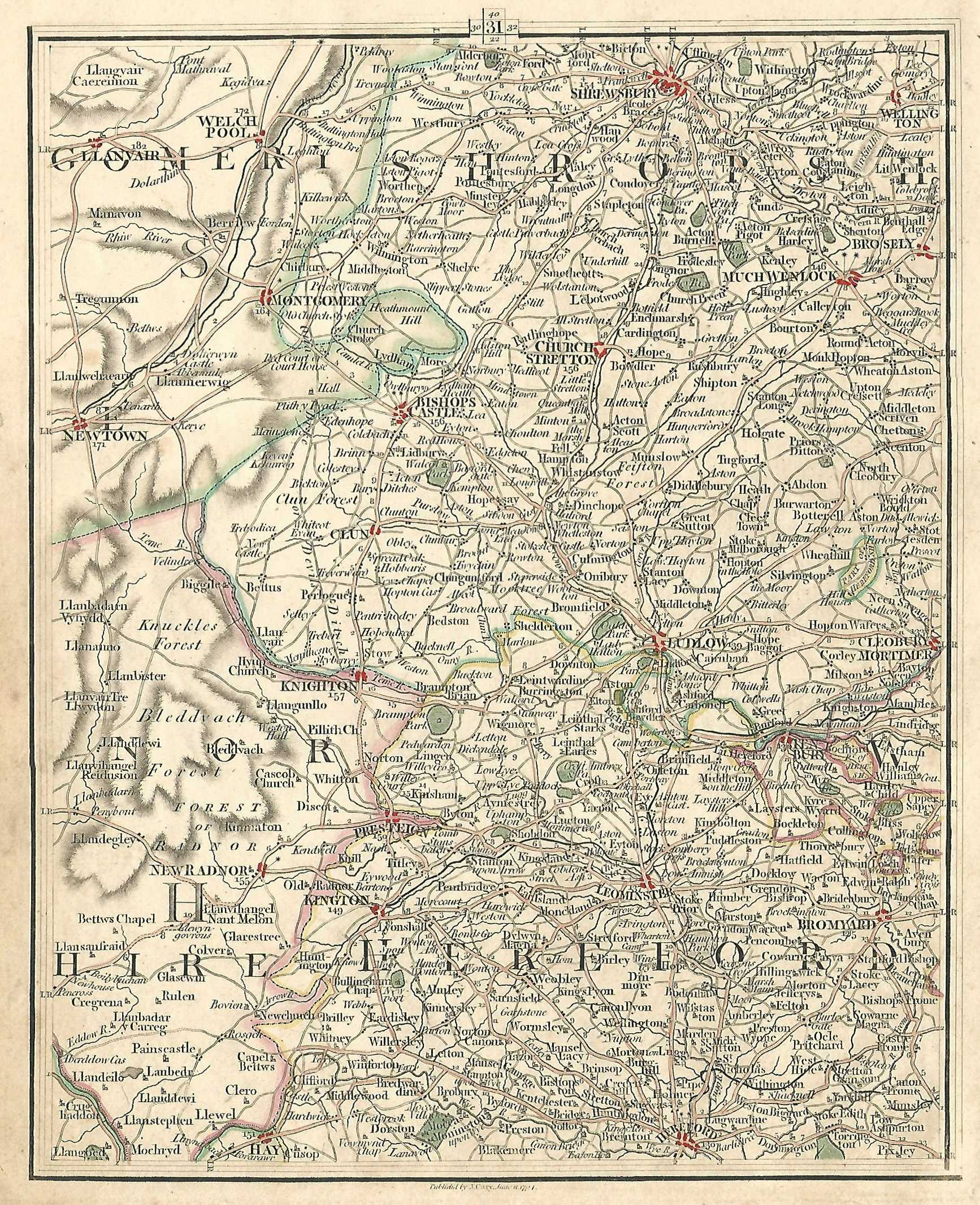 Shropshire Shrewsbury Ludlow Herefordshire Hereford antique map