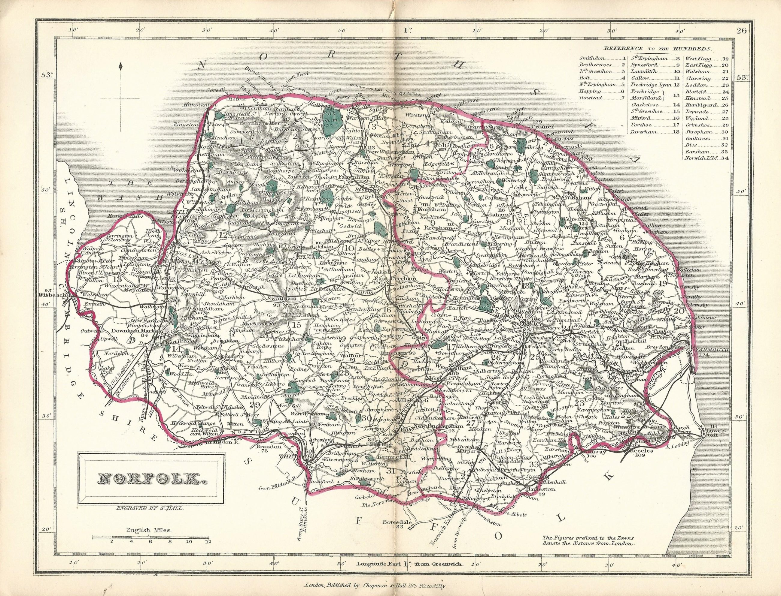 Norfolk antique map from English Counties published 1860 Frontispiece
