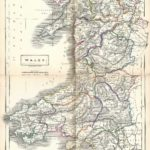 Wales Cymru antique map Sidney Hall's Travelling Atlas With All The Railroads 1860 - Page 44 and 45