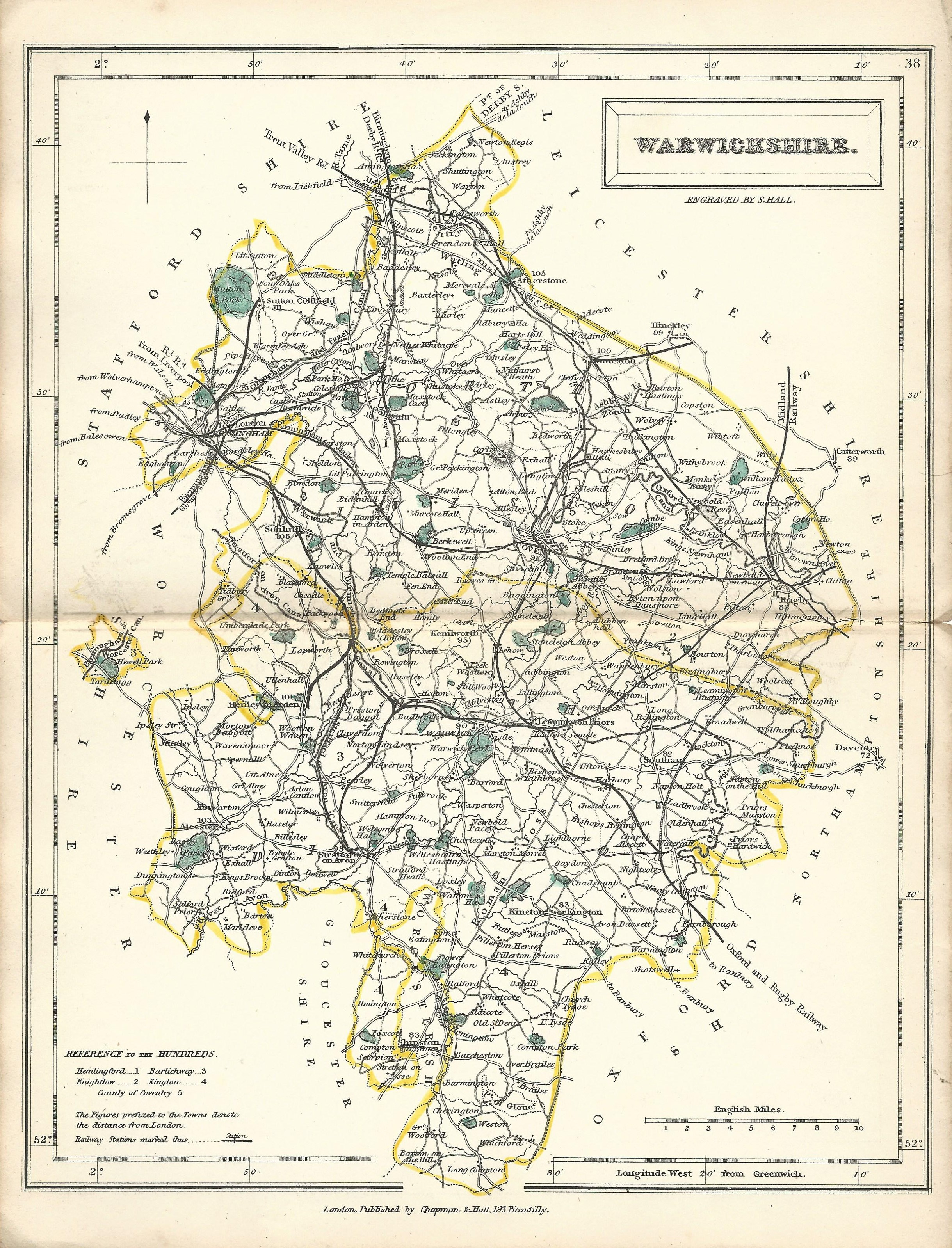 Warwickshire antique map from English Counties 1860 - Frontispiece