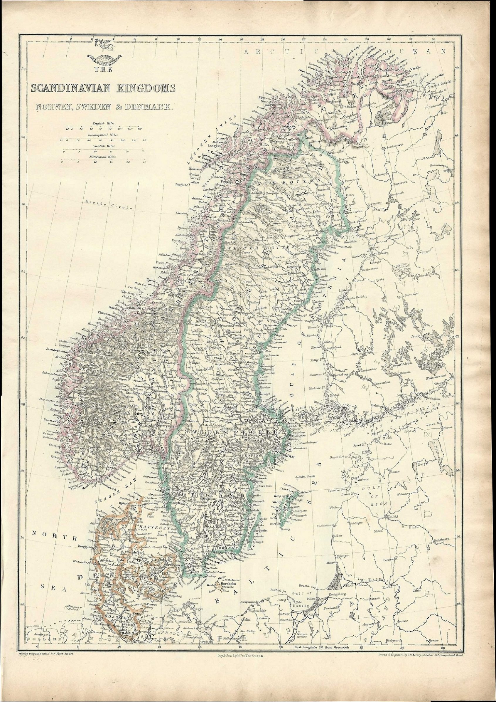 Scandinavia antique map Weekly Dispatch Album 1863 - Frontispiece