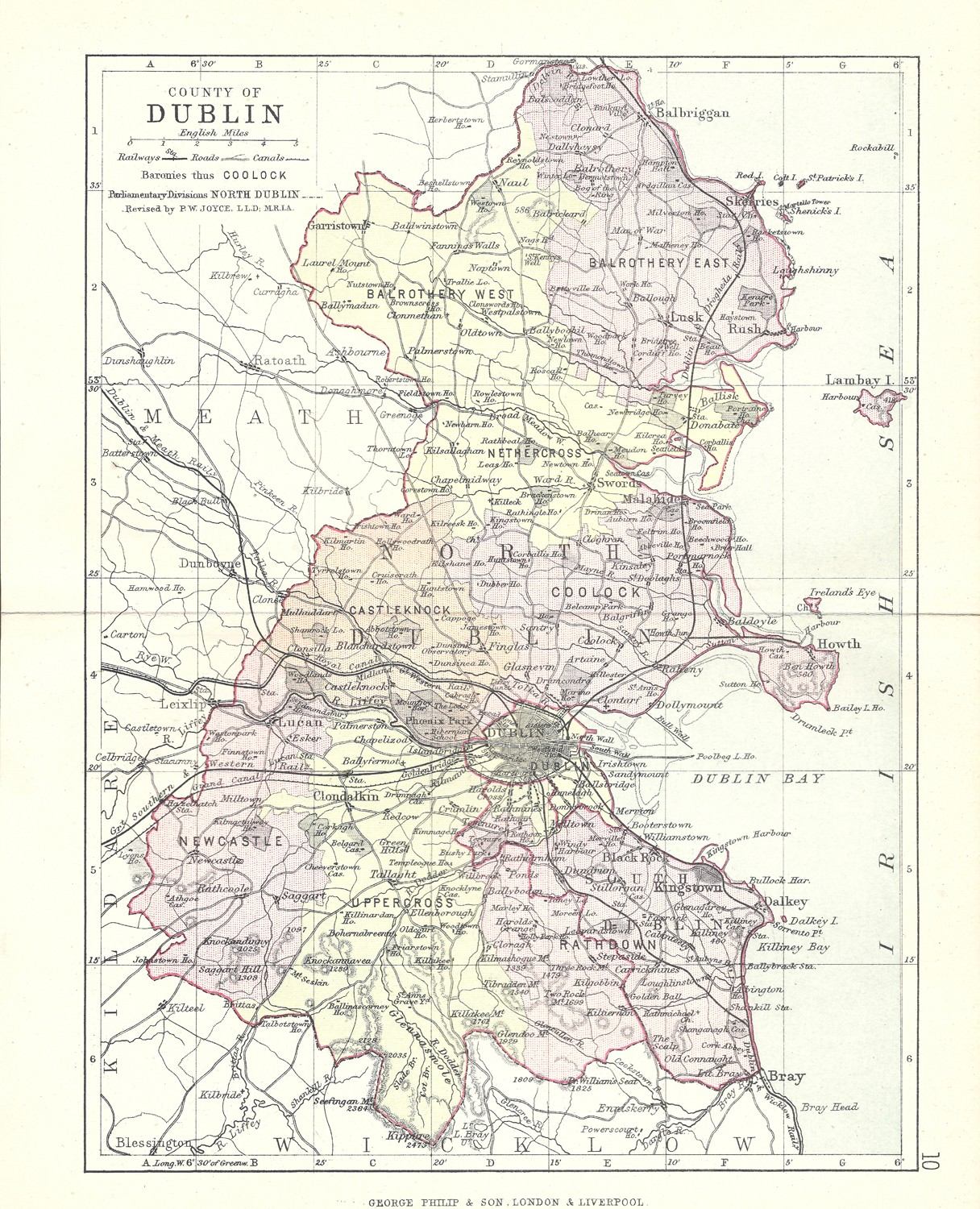 Map Of Dublin 7 Ireland.Antique Map Of County Dublin Frontispiece