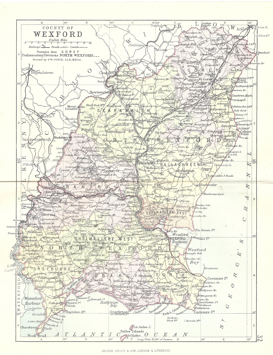 32 County Map Of Ireland.Antique Map Of County Wexford Ireland