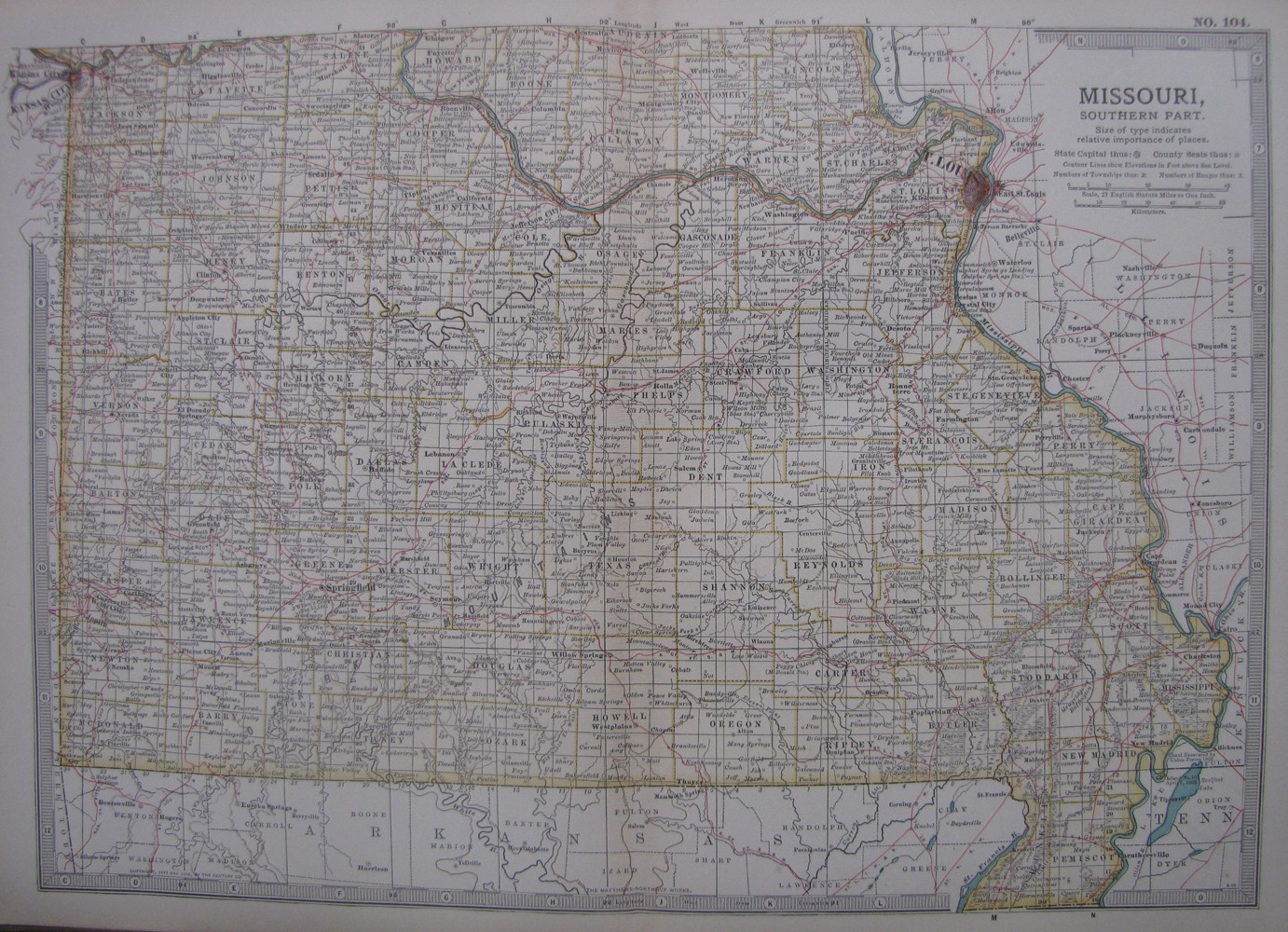 antique map of Missouri, Southern Part, No.104