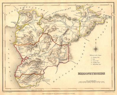 Map Of England 870.Antique Map Of Merionethshire Wales Frontispiece