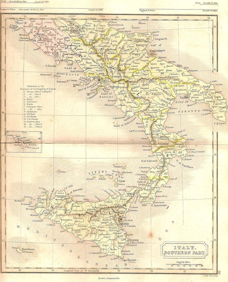 Modern Map Of Italy.Italy Antique Map Southern Part