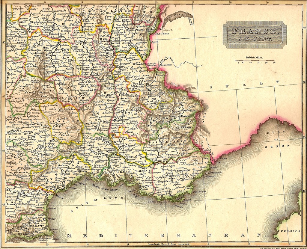 Map Of South East France.France South East Antique Map