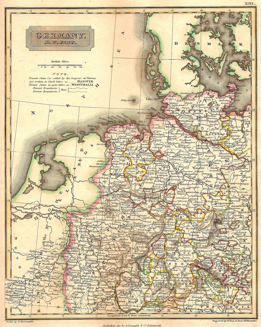 Map Of North West Germany.Germany North West Antique Map