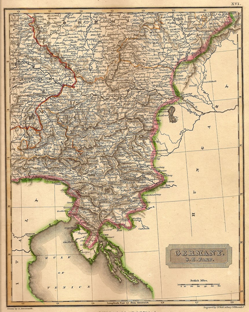 Map Of South Germany.Germany South East Antique Map