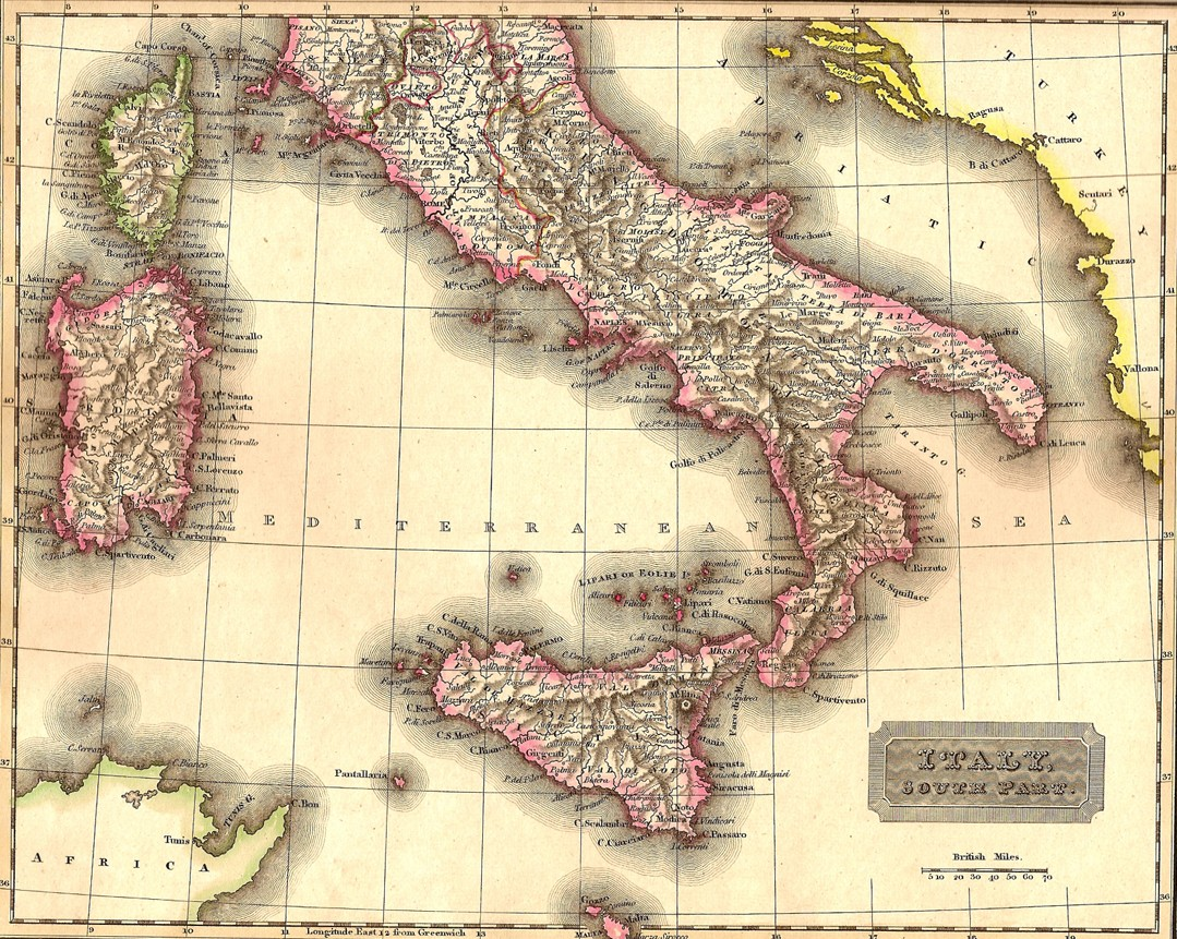 Italy Sicily Antique Map Frontispiece