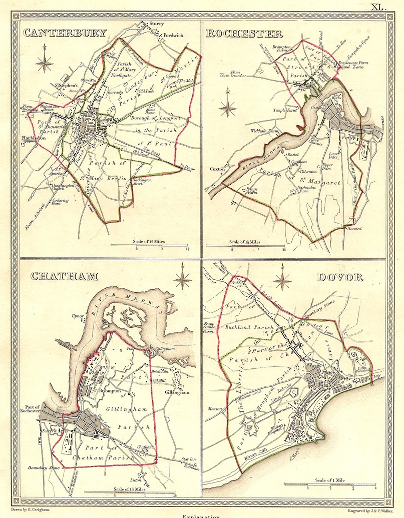 Chatham England Map.Canterbury Rochester Chatham Dover Kent Frontispiece