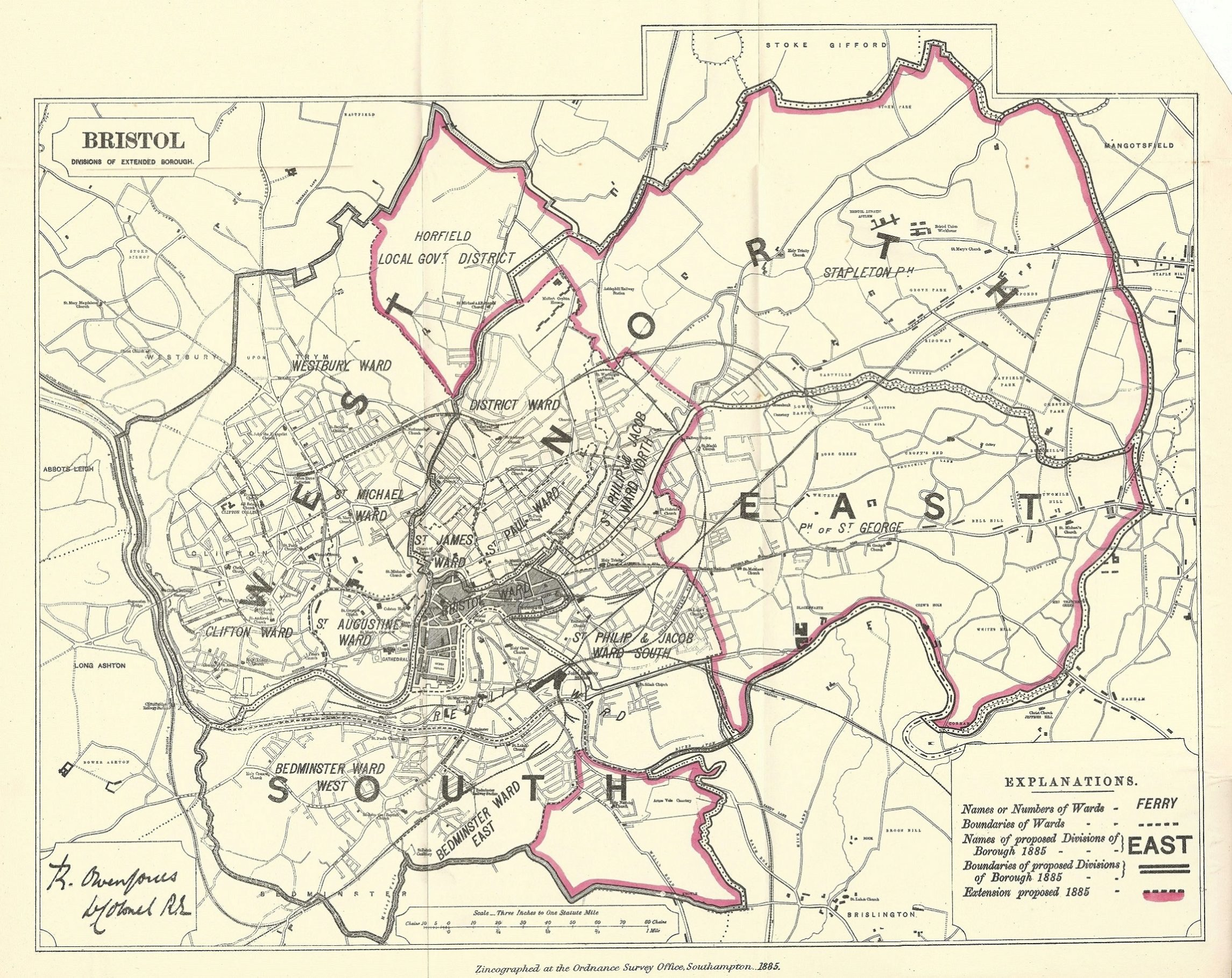 Map Of England Gloucestershire.Bristol Antique Map Boundary Commission 1885