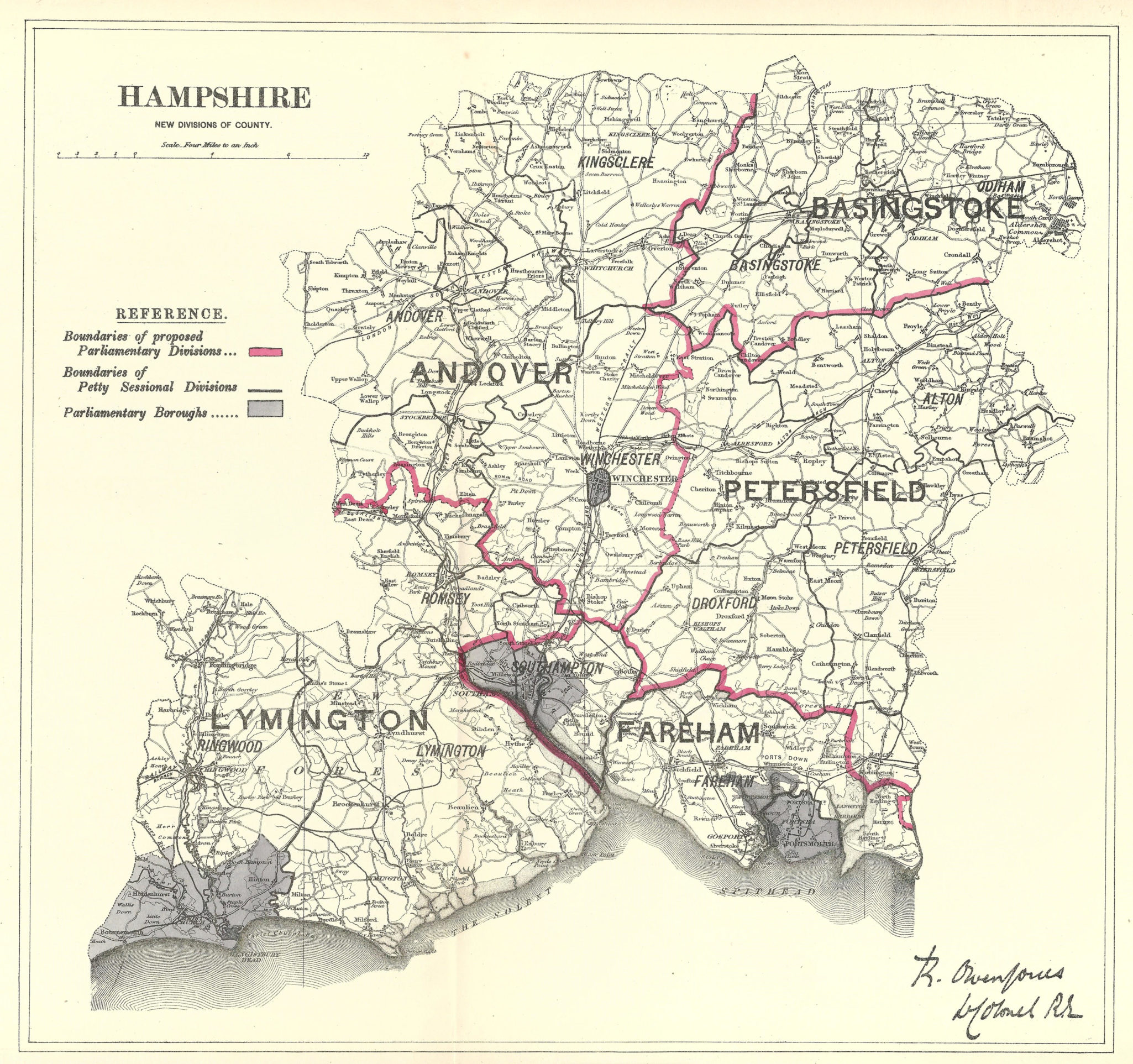 Hampshire Antique Map Boundary Commission 1885 Frontispiece