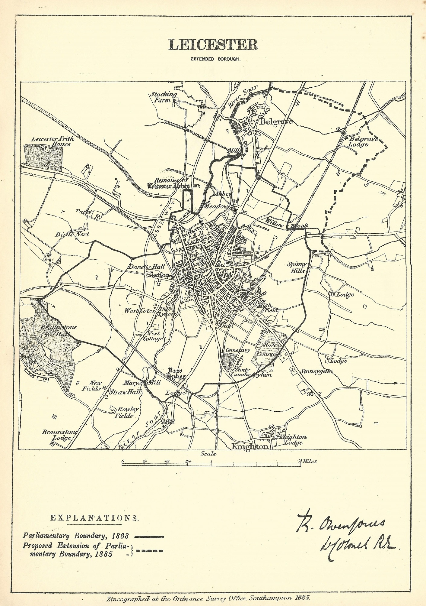 Map Of England Leicester.Leicester Antique Map Boundary Commission 1885
