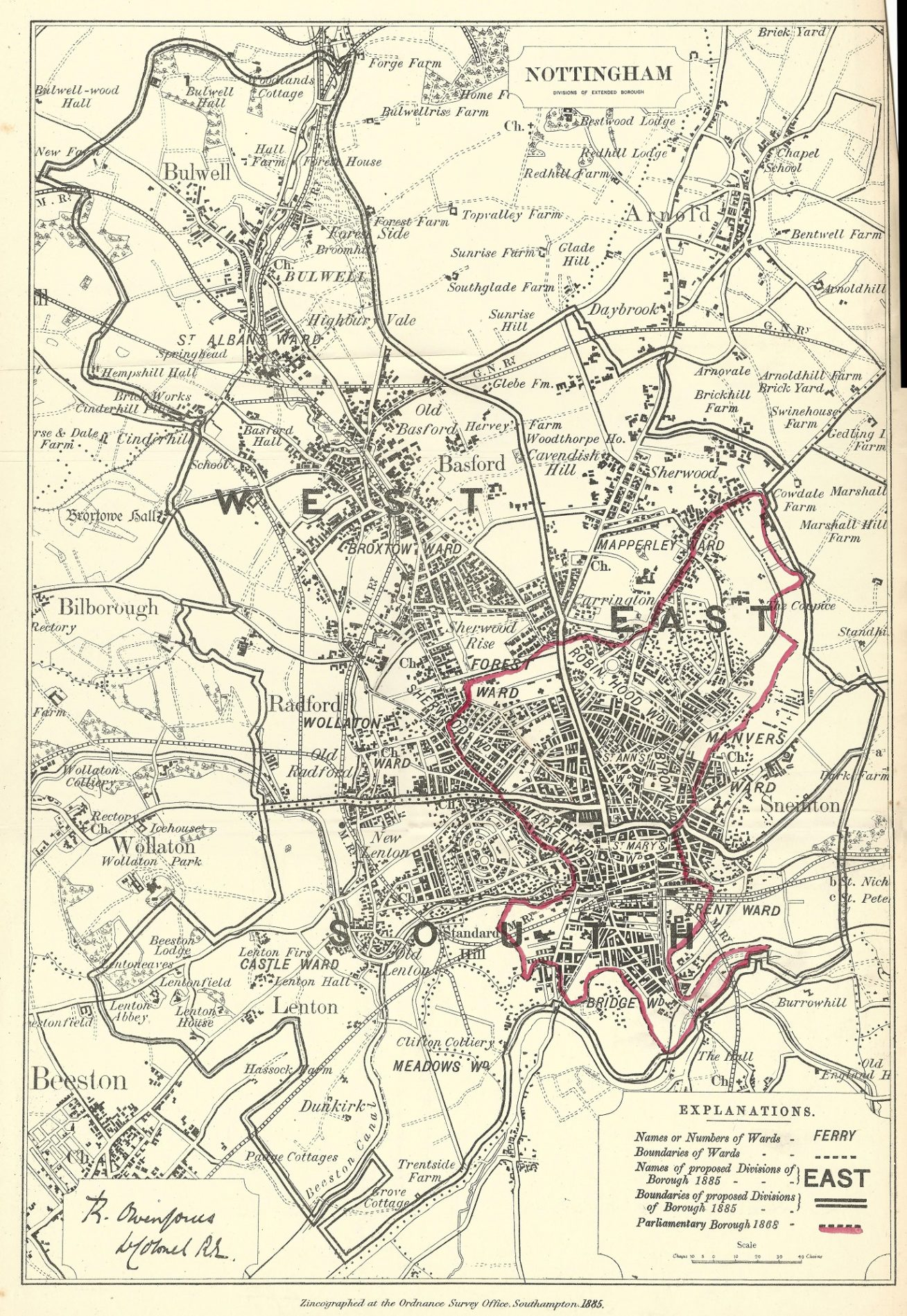 Nottingham Antique Map Boundary Commission 1885 Frontispiece