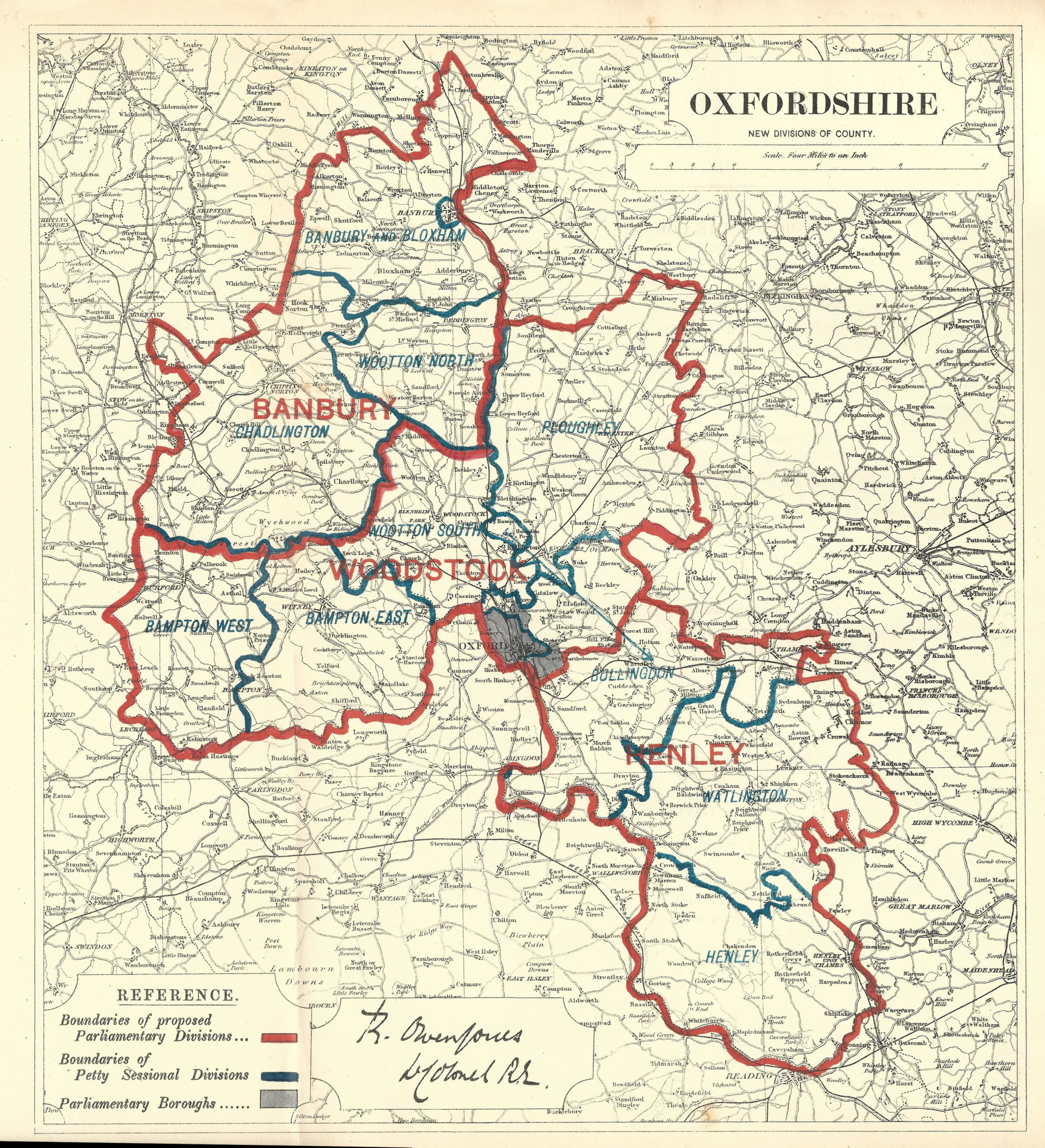 Banbury England Map.Oxfordshire Antique Map Boundary Commission 1885 Frontispiece