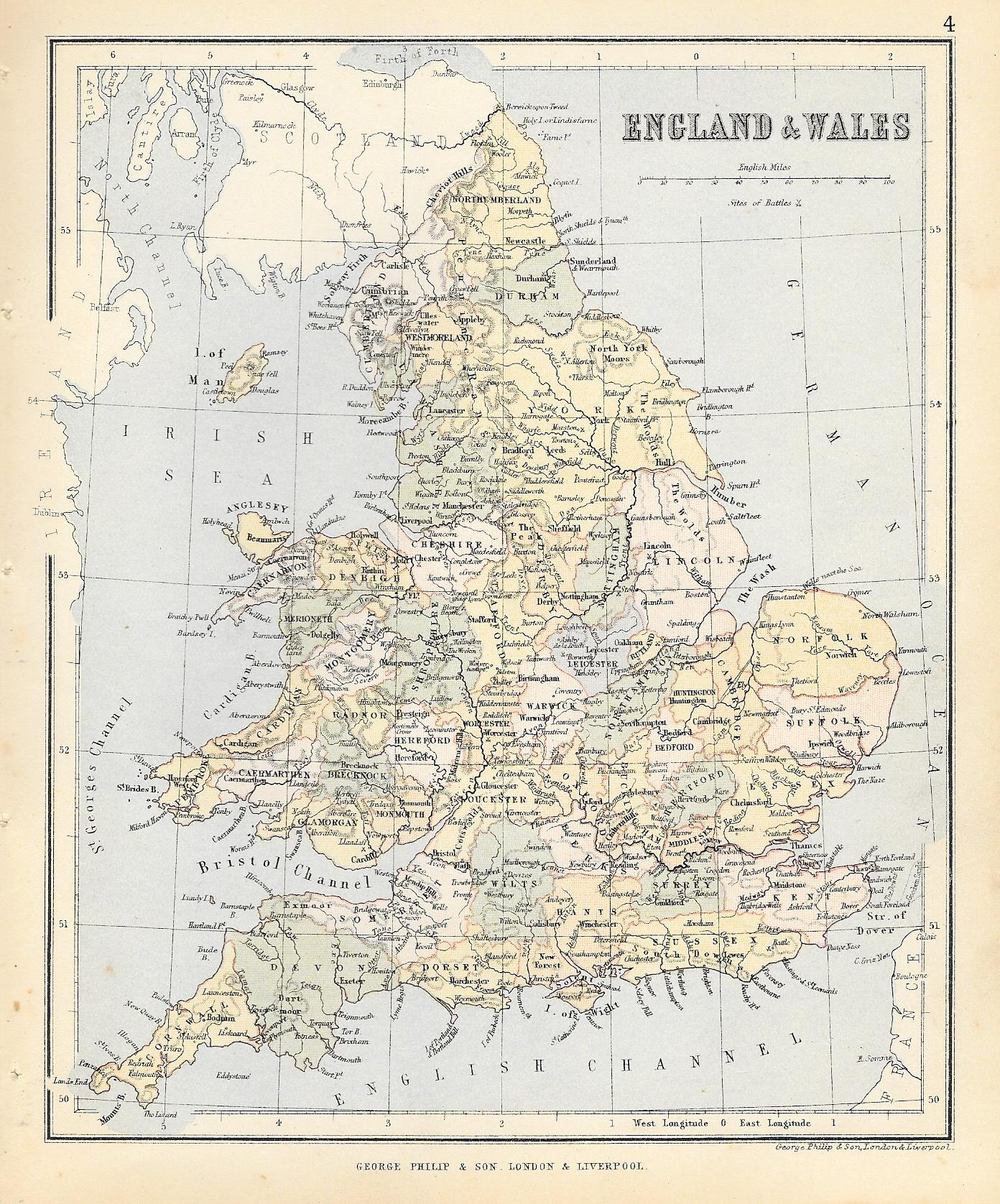 Map Of England Wales.England Wales Antique Map