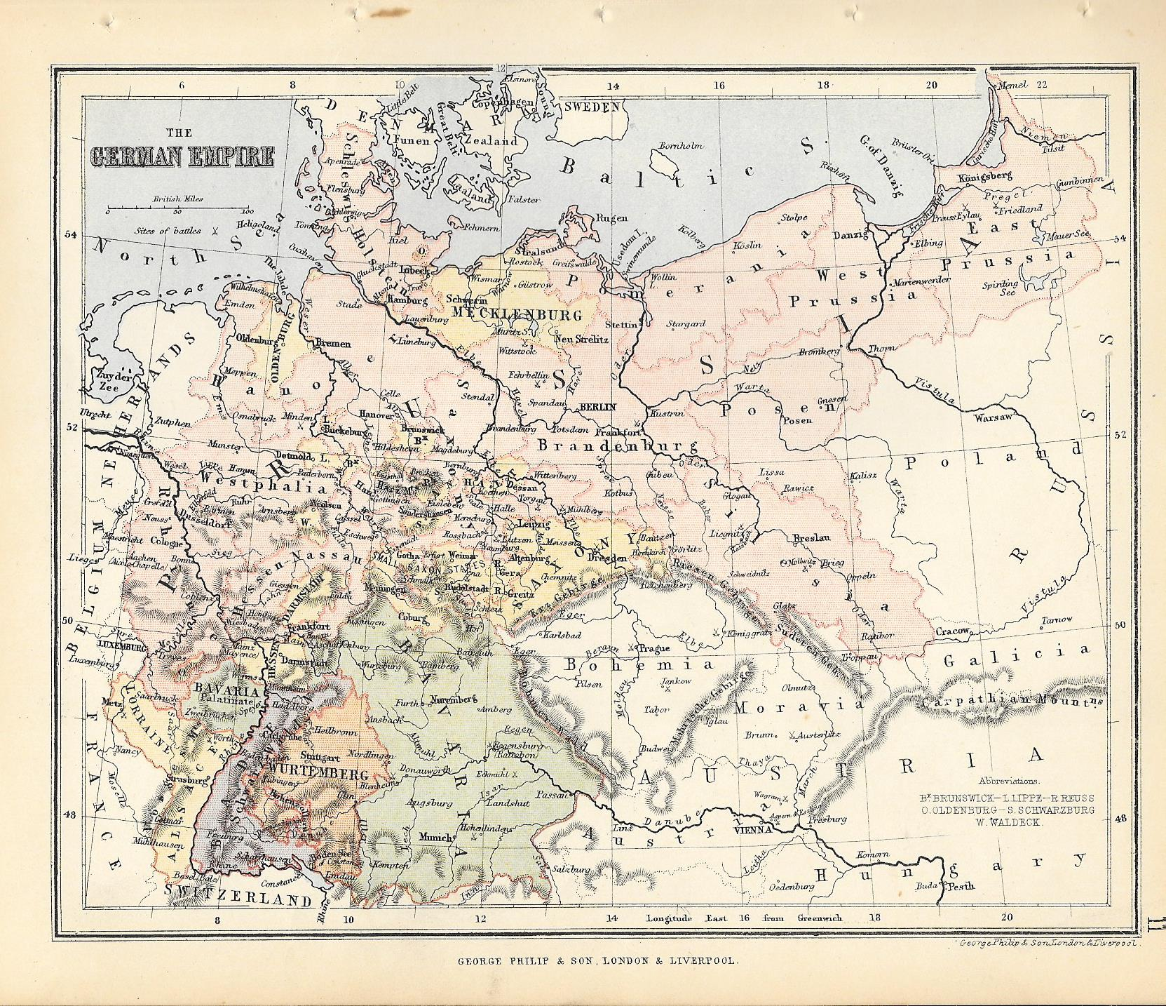 Map Of Germany Pre Unification.German Empire Antique Map Frontispiece