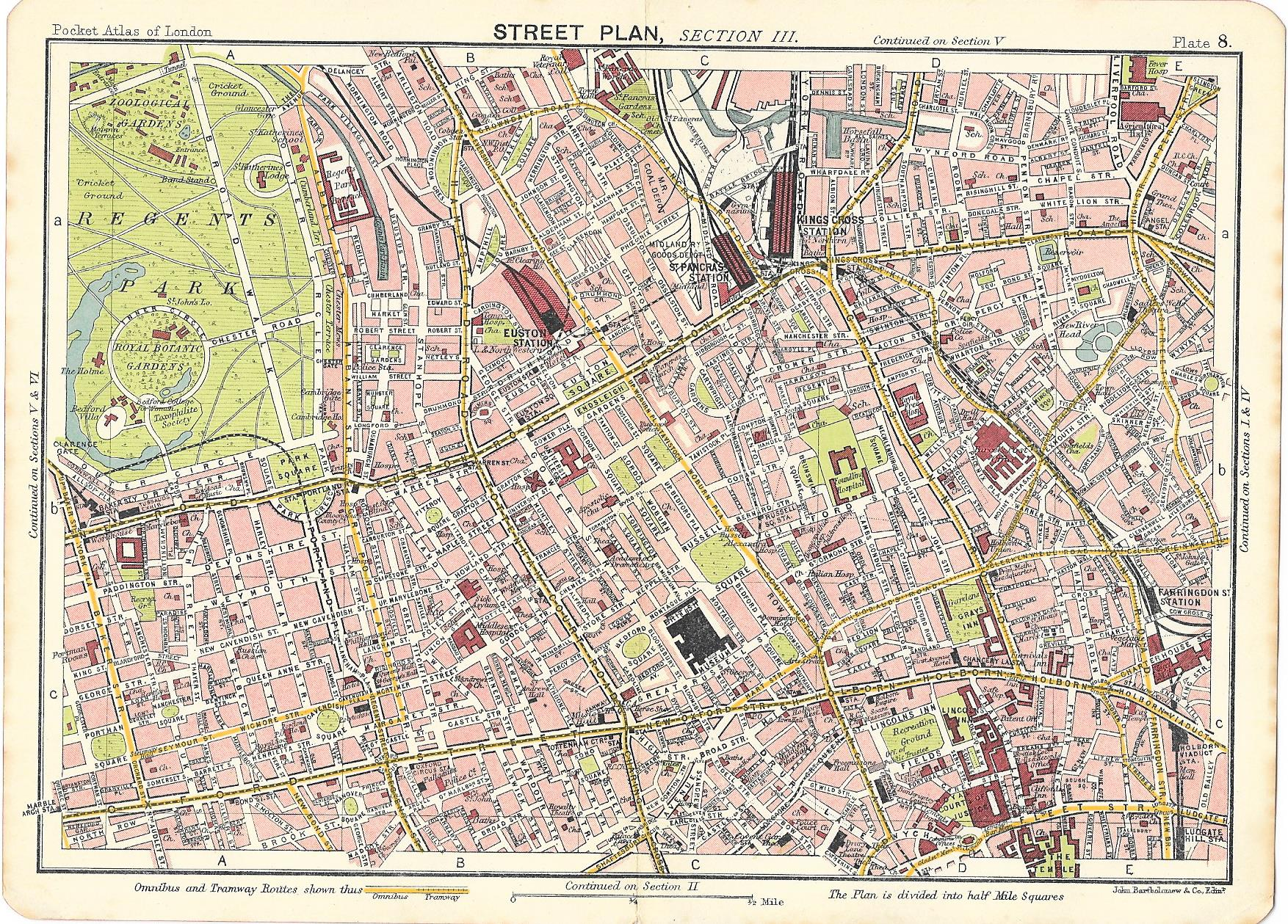 London Westminster Camden Old Map 1917 Frontispiece