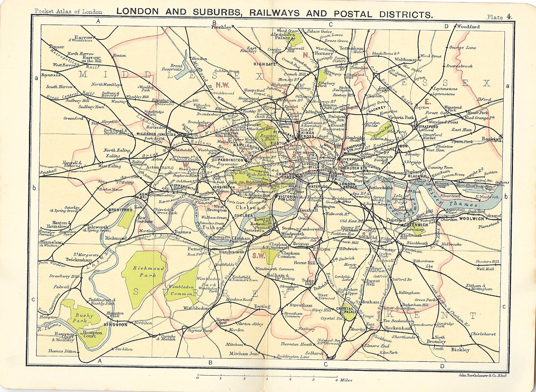 London Map Districts.Railways And Postal Districts Map Of London Suburbs Frontispiece