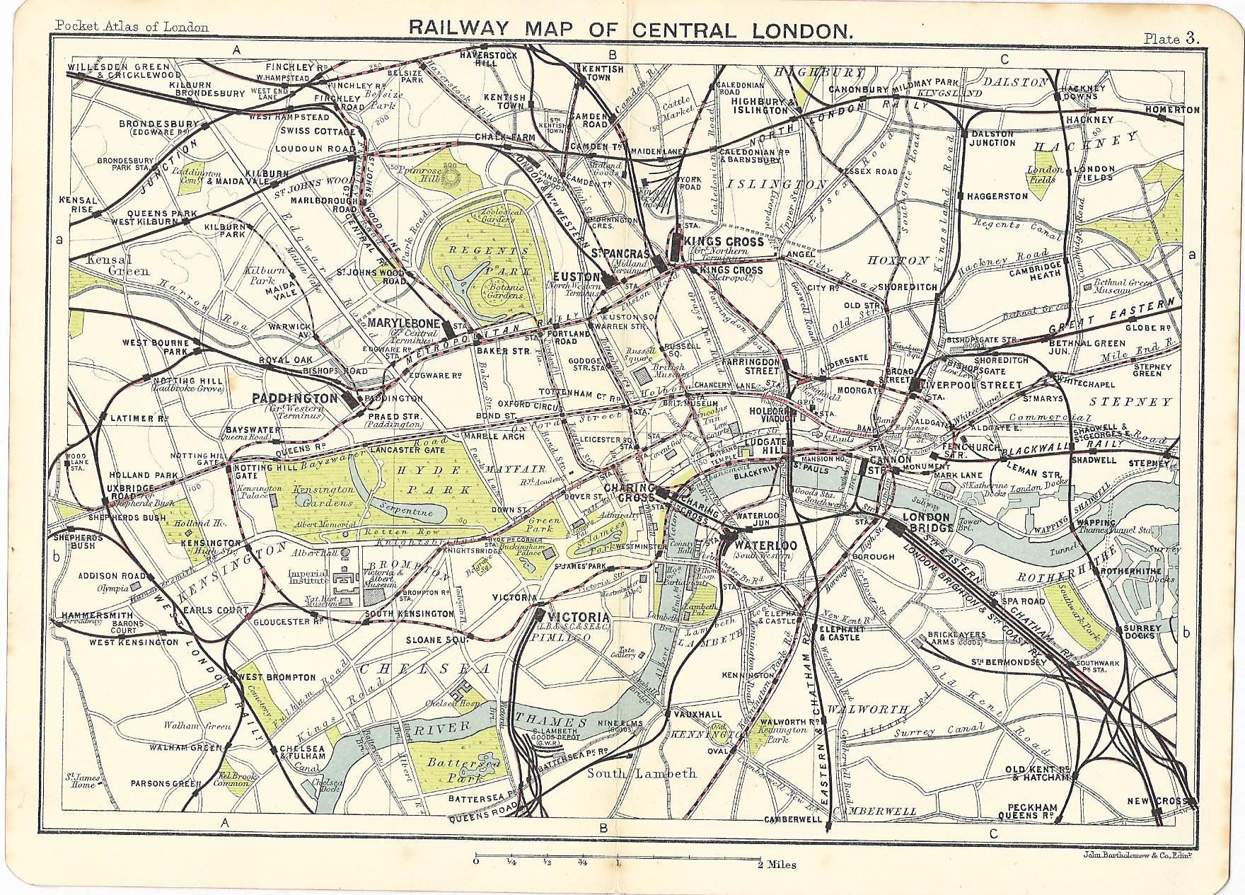 London Map Central.Railway Map Of Central London 1917