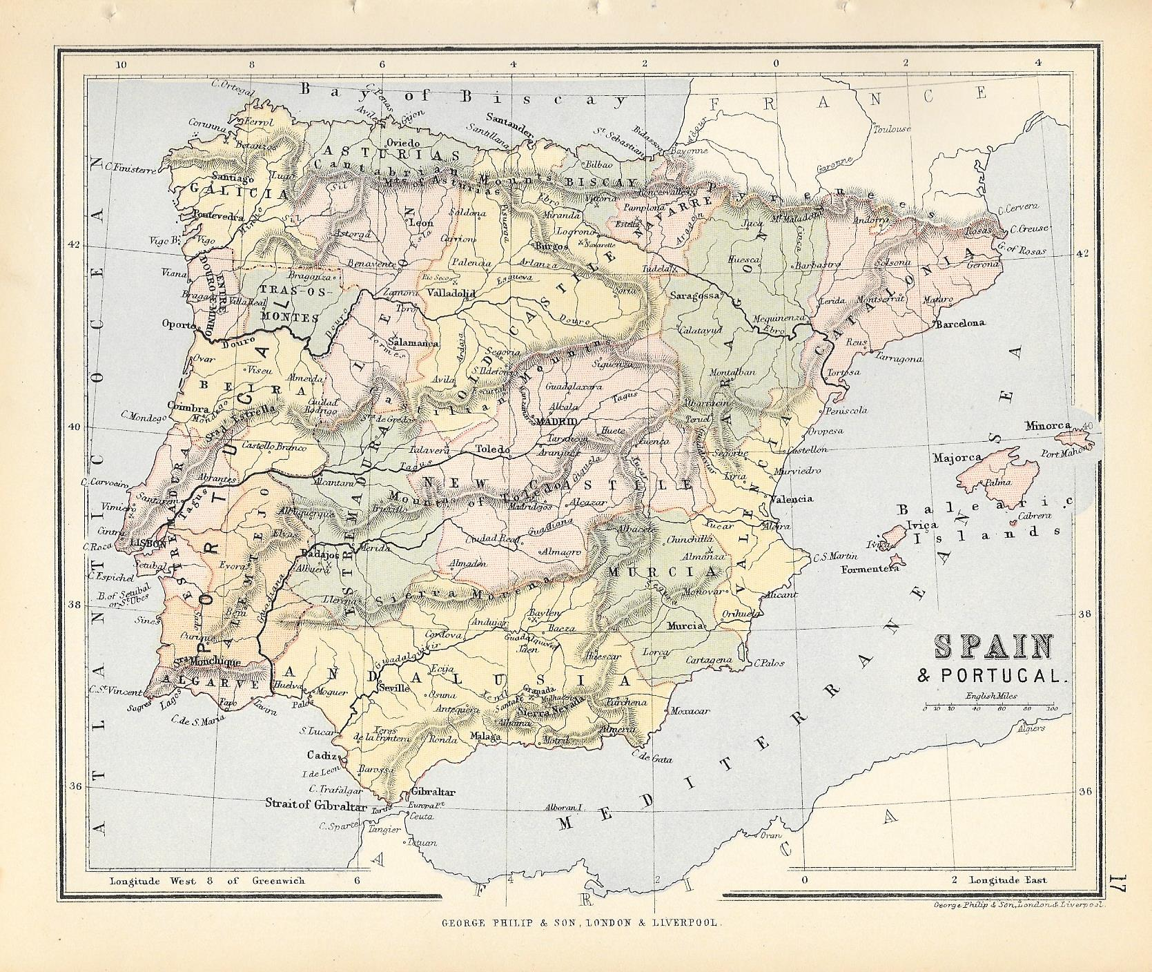 Map Of Portugal And Spain Detailed.Spain Portugal Antique Map