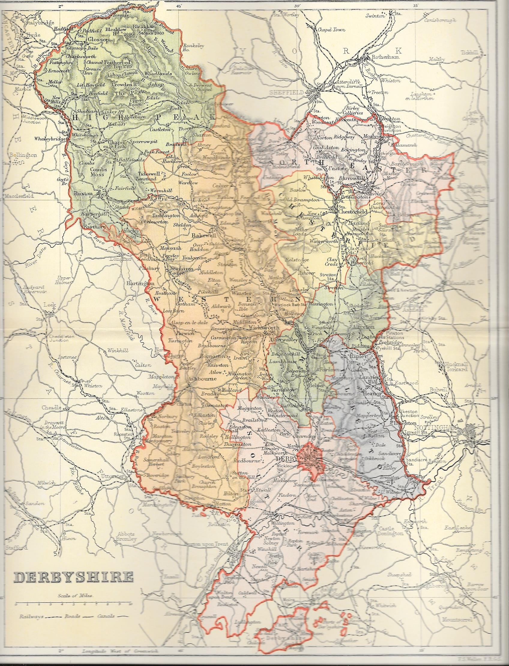 Map Of England Derbyshire.Derbyshire Antique Map Frontispiece